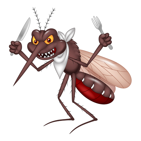 Vector illustration of Cartoon mosquito ready for eat