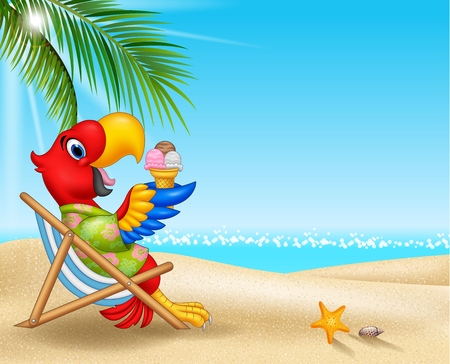Vector illustration of Cartoon macaw sitting on beach chair and eating an ice cream