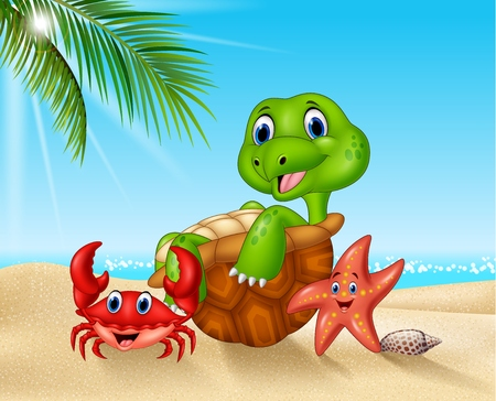 Vector illustration of Cartoon sea animals relaxing on the beach
