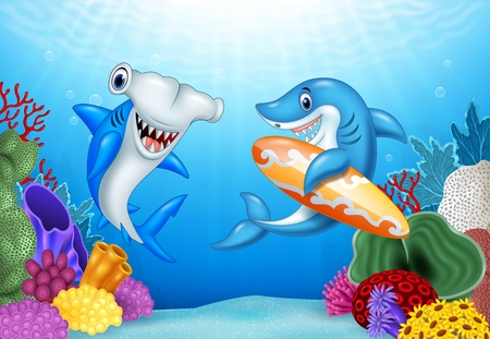 pez martillo: Vector illustration of Cartoon sharks with tropical underwater background
