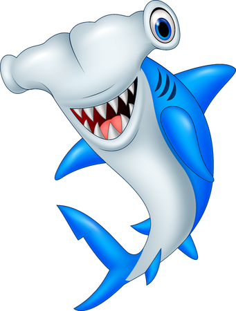 Vector illustration of Cartoon hammerhead shark