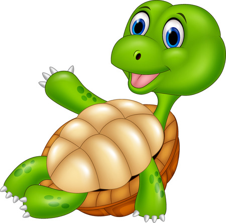funny baby: Vector illustration of Cartoon turtle relaxing isolated on white background.