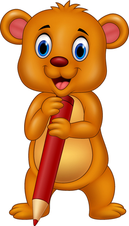 brown: Vector illustration of Cartoon brown bear cartoon holding red pencil. Illustration