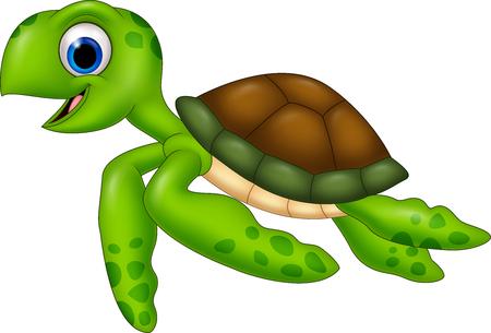 Ilustración vectorial de la tortuga de dibujos animados aislado en fondo blanco