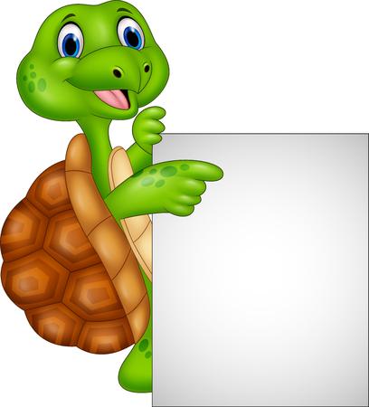 Vector illustration of Cartoon turtle holding blank sign Illustration