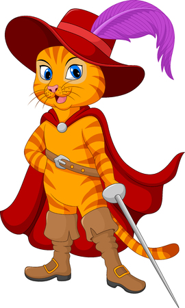 Vector illustration of Cartoon puss in boot. Illustration