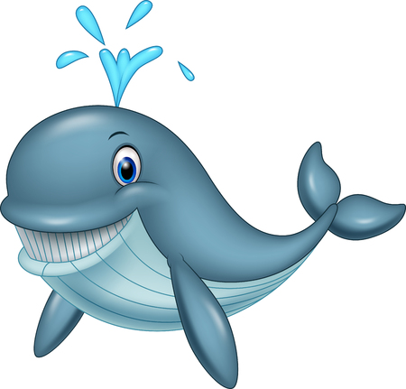 Vector illustration of Cartoon funny whale Illustration