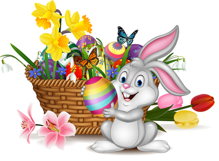 Vector illustration of Happy Easter background with rabbit holding an Easter egg