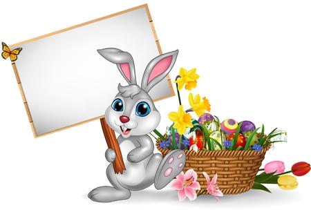Vector illustration de Joyeux Pâques avec un lapin tenant un signe vide Vecteurs
