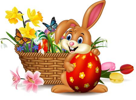 Vector illustration of Cartoon bunny holding easter egg
