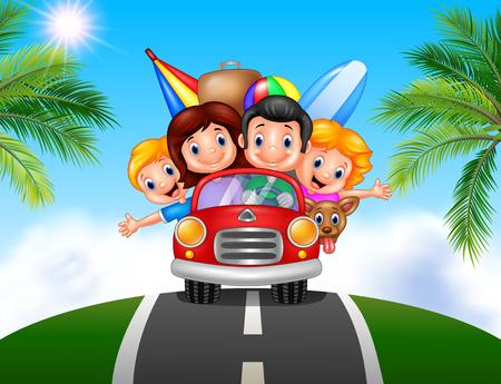 Vector illustration of Cartoon family vacation