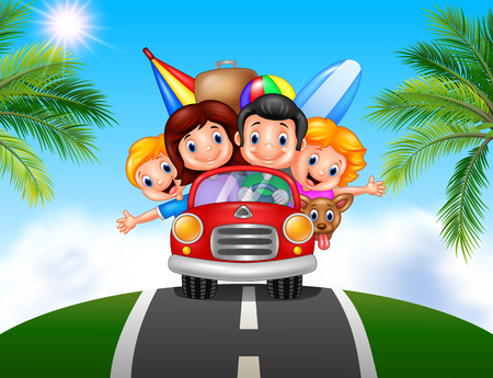 Vector illustration of Cartoon family vacation
