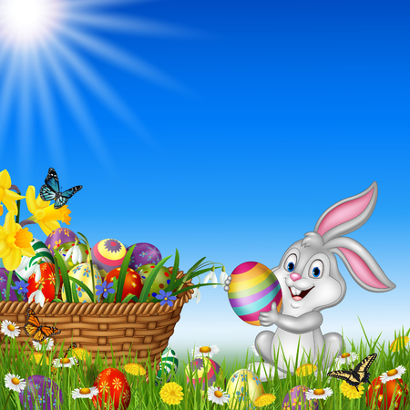 holiday background: Vector illustration of Happy Easter background with rabbit holding an Easter egg