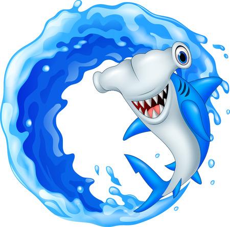 flippers: Vector illustration of Cartoon hammerhead shark icon