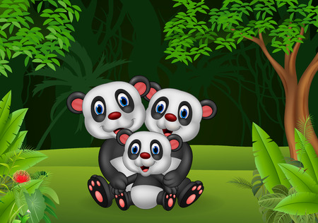 Vector illustration of Cartoon panda family in the jungle