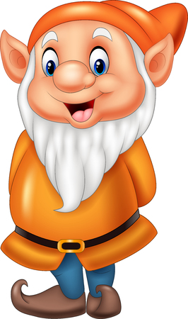 funny: Cartoon happy dwarf isolated on white background
