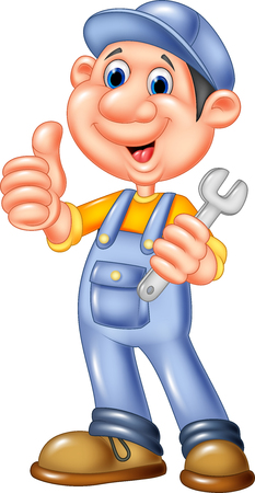 Vector illustration of Cute mechanic cartoon holding wrench and giving thumbs up Illustration