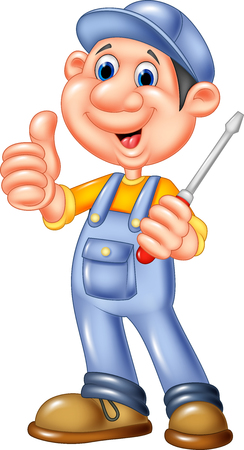 Vector illustration of Cute mechanic cartoon holding a screwdriver and giving thumbs up