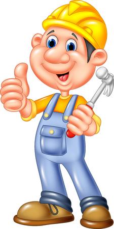 job satisfaction: Vector illustration of Cartoon Construction worker repairman