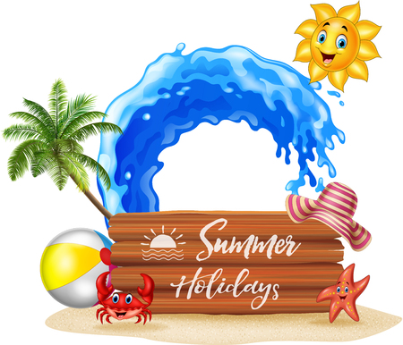 summer sign: Vector illustration of Summer background with wooden sign Illustration