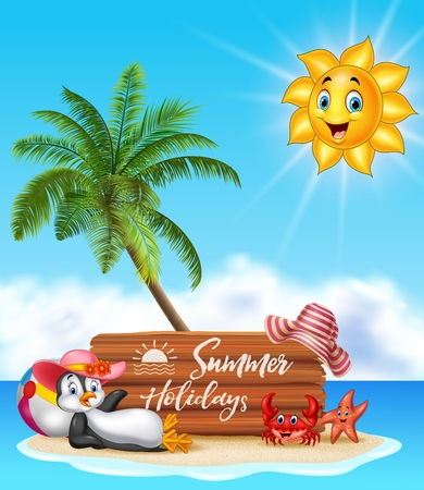 summer sign: Vector illustration of Summer holiday with wooden sign and happy penguin