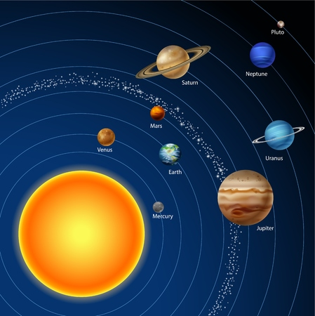 jupiter light: Vector illustration of Solar system with nine planets Illustration