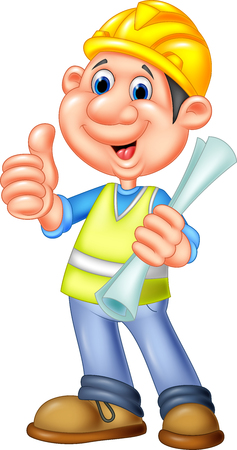 Vector illustration of Cartoon Construction worker repairman
