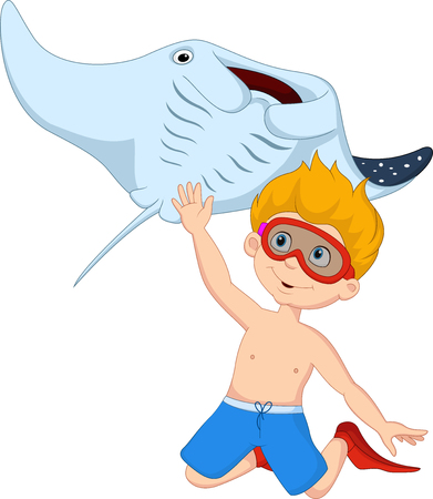 Vector illustration of Cartoon little boy diving with stingray Illustration