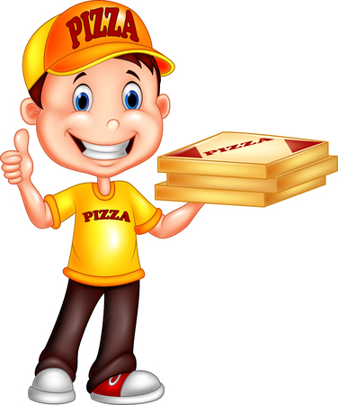 food: Vector illustration of Cartoon pizza delivery man giving thumbs up
