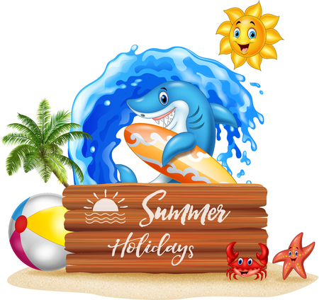 Vector illustration of Summer background with surfing shark and wooden sign