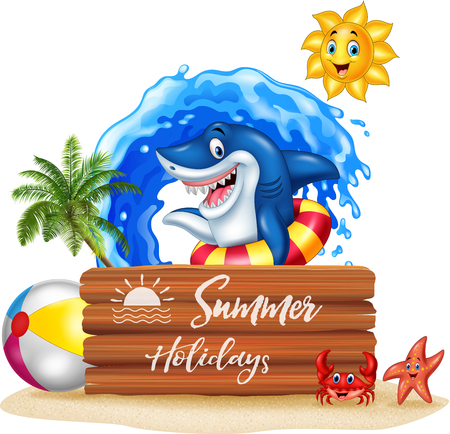 Vector illustration of Summer background with shark and wooden sign Çizim