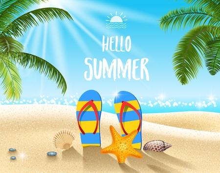 Vector illustration of Summer beach background Vettoriali