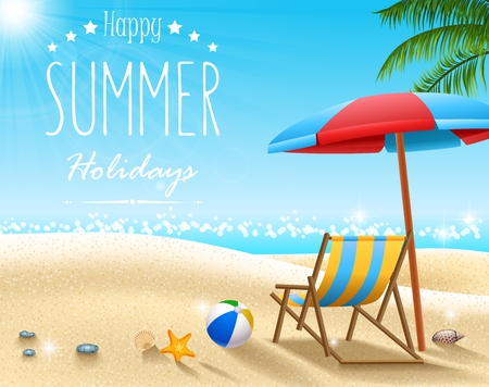Vector illustration of Summer beach background Çizim