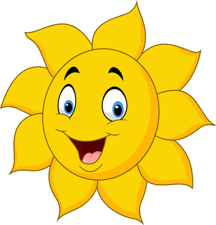 smiley: Vector illustration of Cartoon sun isolated on white background Illustration