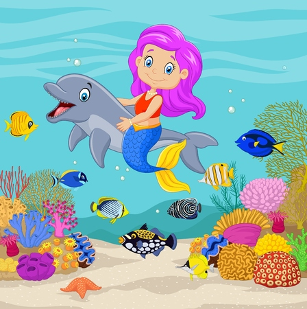tropical: Vector illustration of Cute mermaid with dolphin in the underwater background