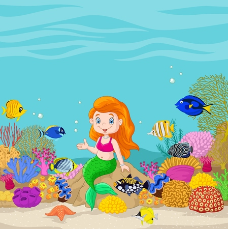 character cartoon: Vector illustration of Cute mermaid presenting in the underwater background.