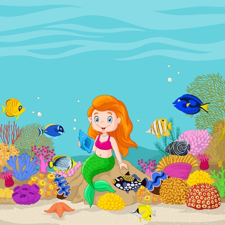 bubble sea anemone: Vector illustration of Cartoon underwater world with little mermaid holding seashell.