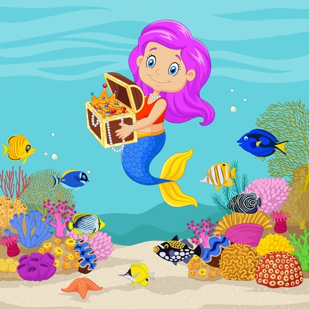 box: Vector illustration of Cute mermaid holding treasure chest in underwater background.
