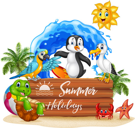 penguins on beach: Vector illustration of Summer holidays with funny animals.