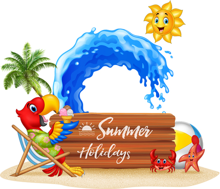 Vector illustration of Summer holidays with macaw relaxing on the beach.