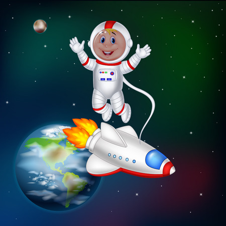 Vector illustration of Cartoon astronaut in outer space.