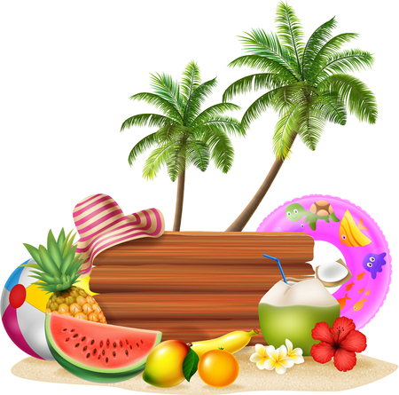 summer fruits: Vector  illustration of Summer holiday background with tropical fruits Illustration