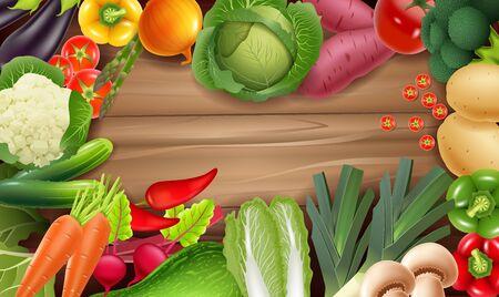 Illustrazione vettoriale di verdure fresche sane su legno rustico