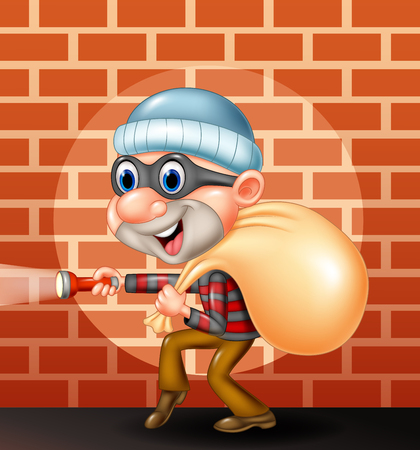 Vector illustration of Thief cartoon with sack of money Illustration