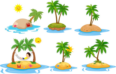 water: A Vector illustration of Cartoon tropical island collection set Illustration