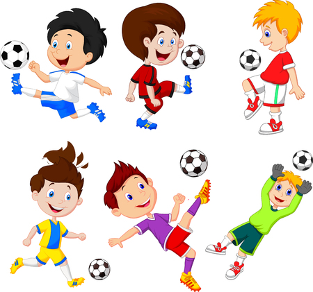 A Vector illustration of Cartoon little Boy playing football