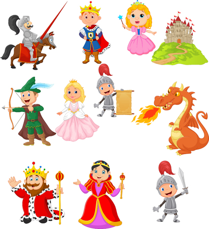 A Vector illustration of Set of fairy tale medieval character Stock Illustratie