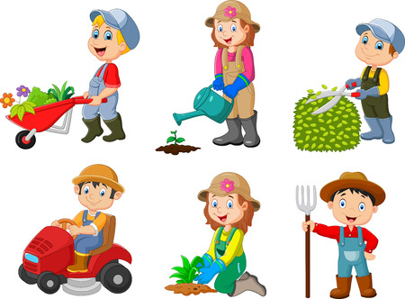 A Vector illustration of Collection of gardening kids