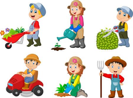 Une illustration vectorielle de Collection de jardinage des enfants