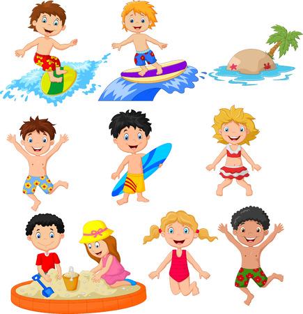 Une illustration vectorielle de petits enfants mignons jouant sur la plage